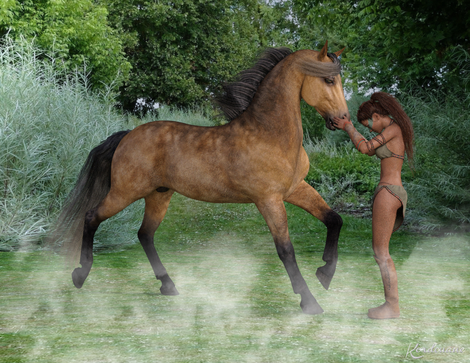 Fond d'écran : Confidence entre une femme et un cheval